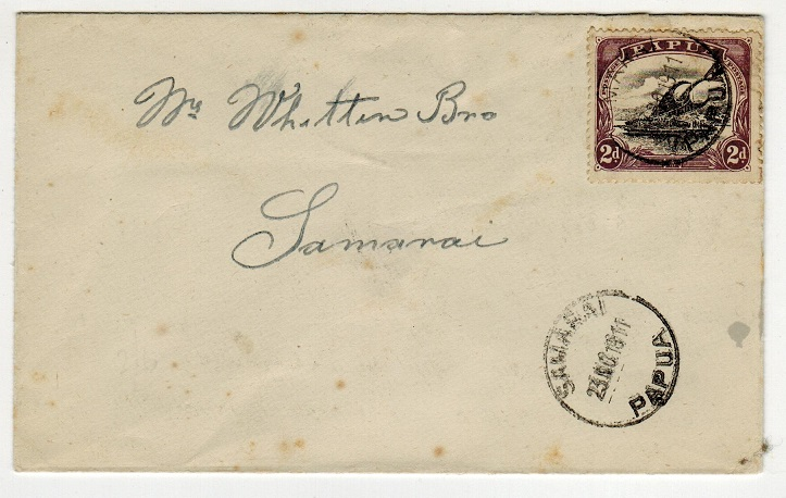 PAPUA - 1911 2d rate local commercial cover used at SAMARAI.