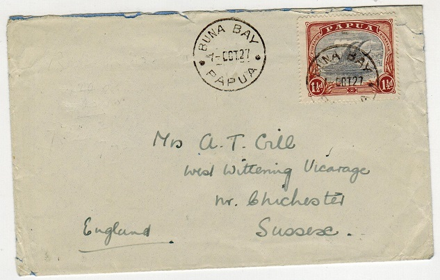 PAPUA - 1927 1 1/2d rate cover to UK used at BUNA BAY.