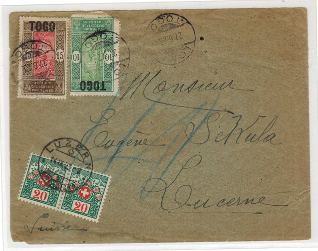 TOGO (French) - 1923 underpaid cover with Swiss postage dues added.