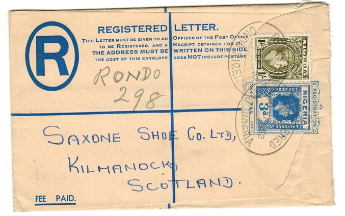NIGERIA - 1937 3d blue RPSE to UK uprated at ONDO.  H&G 5.