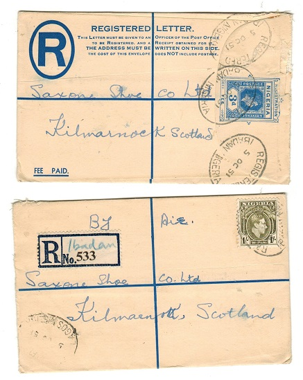 NIGERIA - 1937 3d blue RPSE to UK uprated at IBADAN.  H&G 5.