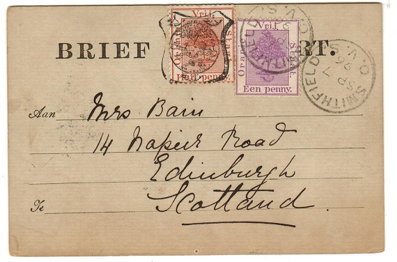 ORANGE FREE STATE - 1891 1/2d brown FORMULA PSC