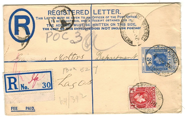 NIGERIA - 1937 3d blue RPSE uprated locally with 1d used at IFE.  H&G 4.