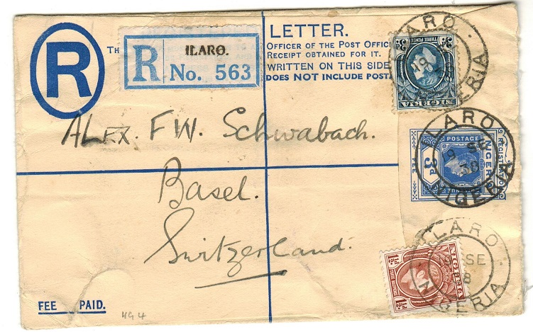NIGERIA - 1937 3d blue RPSE uprated to UK and used at ILARO.  H&G 4.