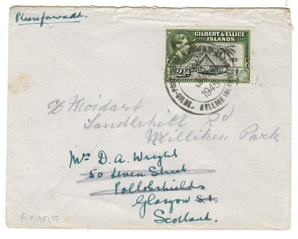 GILBERT AND ELLICE IS - 1945 2 1/2d rate cover to UK used at FUNAFUTI.
