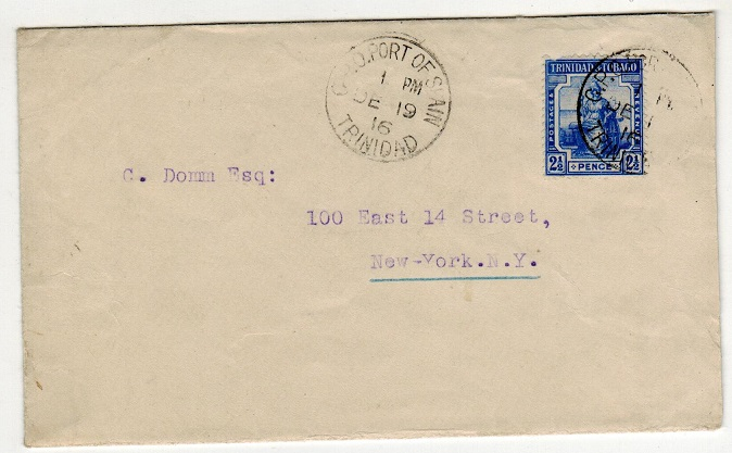 TRINIDAD AND TOBAGO - 1916 2 1/2d rate cover to USA.
