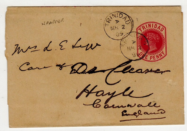 TRINIDAD AND TOBAGO - 1884 1d carmine postal stationery wrapper used to UK.  H&G 2.