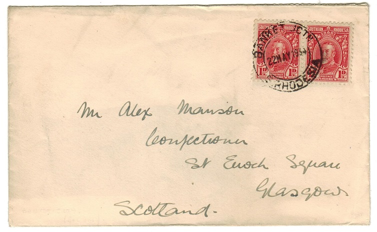 SOUTHERN RHODESIA - 1934 2d rate cover to UK used at BANKET JUNCTION.