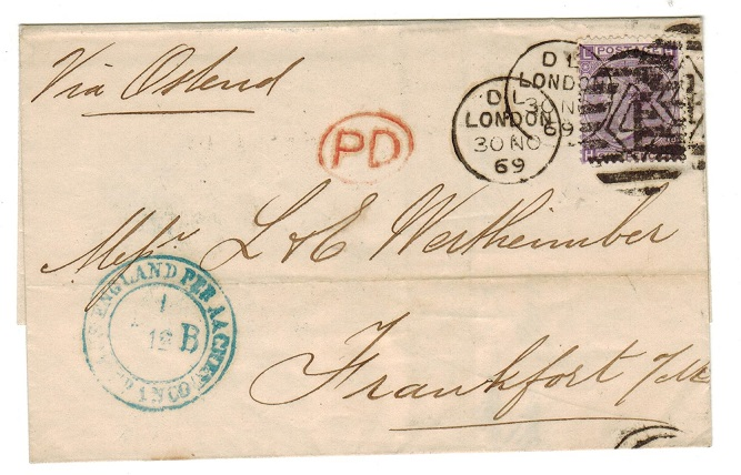 GREAT BRITAIN - 1869 6d rate outer wrapper to Germany.