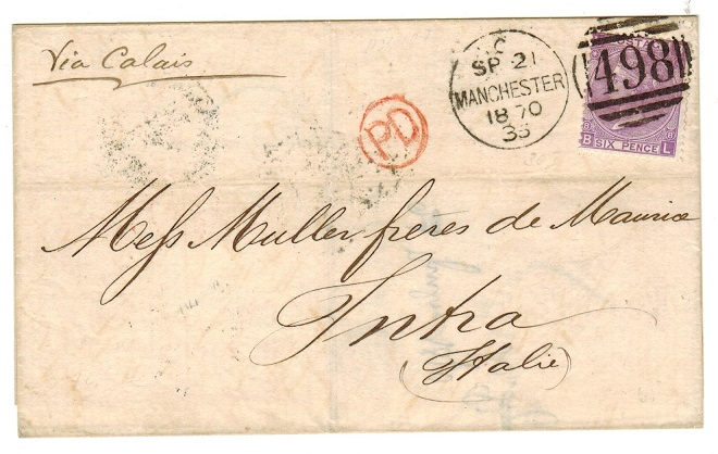 GREAT BRITAIN - 1870 6d rate outer wrapper to Italy.