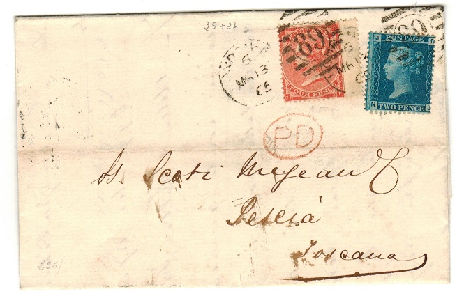 GREAT BRITAIN - 1865 entire addressed to Italy with 2d blue and 4d adhesive.