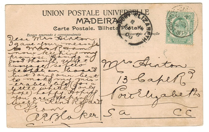 CAPE OF GOOD HOPE - 1908 1/2d rate postcard to Port Elizabeth with OCEAN POST OFFICE strike.