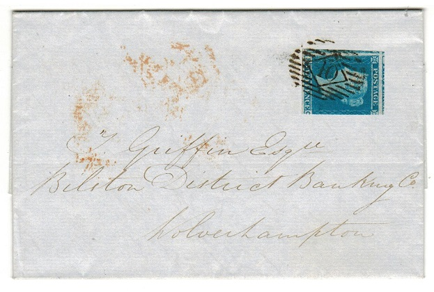 GREAT BRITAIN - 1847 2d blue on entire.