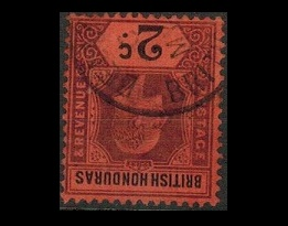 BRITISH HONDURAS - 1902 2c purple and black on red fine used with INVERTED WATERMARK.  SG 81w.