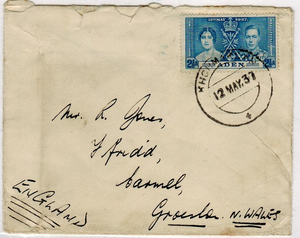 ADEN - 1937 cover to UK with 2 1/2a