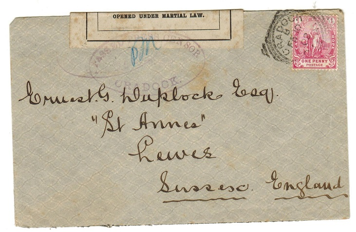 CAPE OF GOOD HOPE - 1902 1d rate cover to UK with Boer War censor label and CRADDOCK h/s.