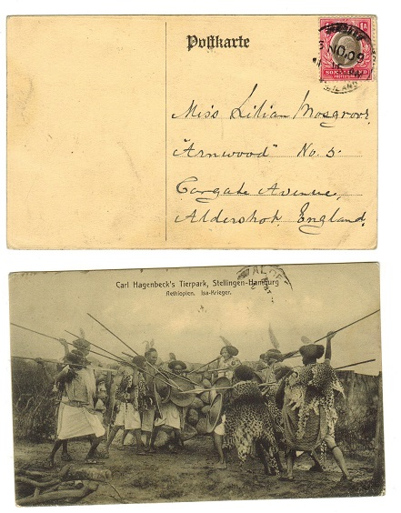 SOMALILAND - 1909 1a rate postcard to UK used at BERBERA.