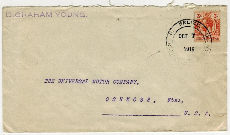 BRITISH HONDURAS - 1918 3c cover to USA with scarcer P.O.BELIZE cancel.