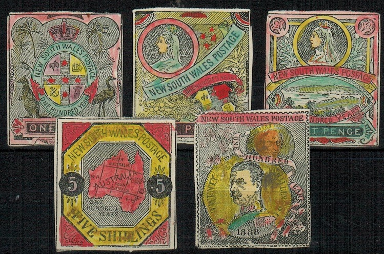 AUSTRALIA (New South Wales) - 1890 (circa) range of five un-adopted hand washed fantasy issues.