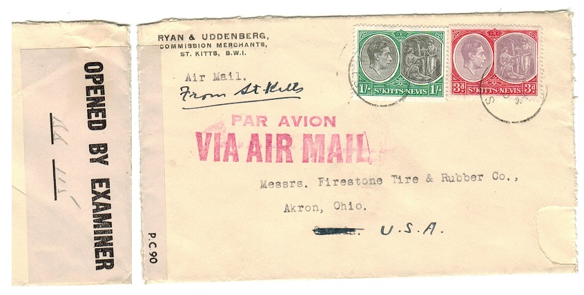 ST.KITTS - 1944 censor cover to USA.