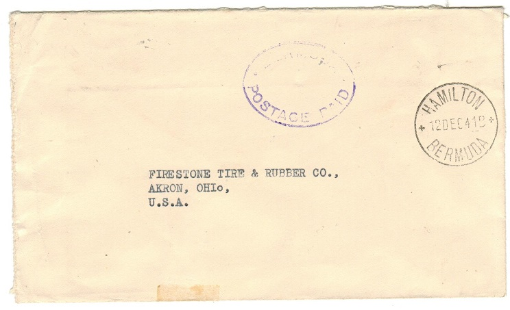 BERMUDA - 1941 stampless BERMUDA/POSTAGE PAID h/s cover to USA.