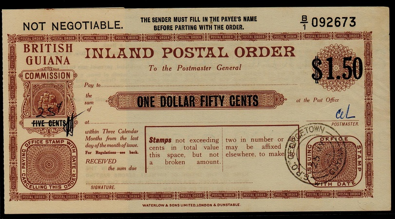 BRITISH GUIANA - 1950 (circa) $1.50 INLAND POSTAL ORDER issued at GEORGETOWN.