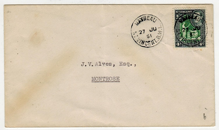 ST.VINCENT - 1951 4c rate local cover used at MAYREAU.