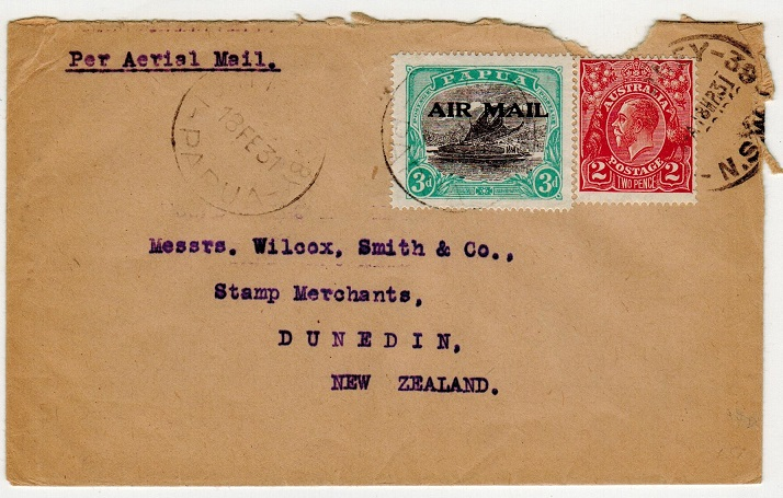 PAPUA - 1931 cover to New Zealand with 3d