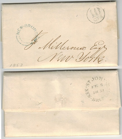 NEW BRUNSWICK - 1853 stampless entire to USA used at ST.JOHN