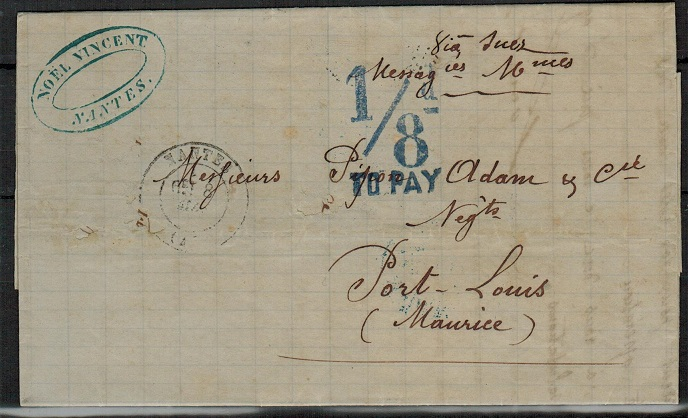 MAURITIUS - 1872 inward stampless entire from France with