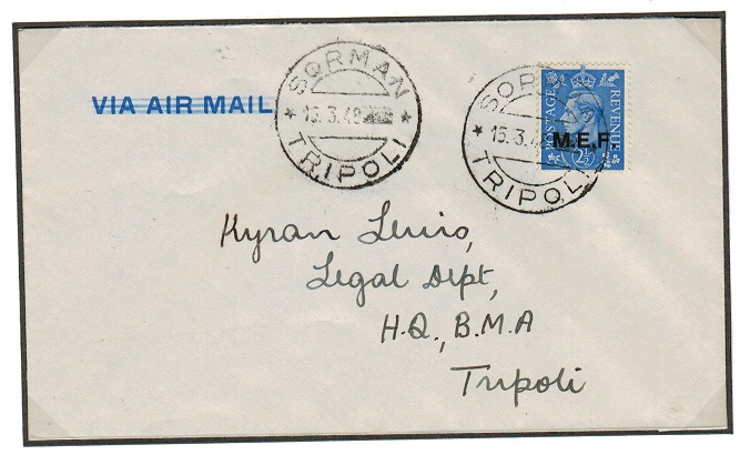 B.O.F.I.C. (Tripolitania) - 1948 2 1/2d rate local cover cancelled by SORMAN cds.