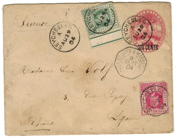 SEYCHELLES - 1901 6c on 8c carmine PSE uprated with 3c+6c adhesives addressed to France.  H&G 5.