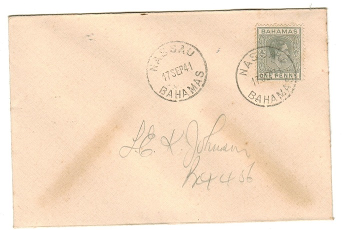 BAHAMAS - 1941 1d grey on local FDC.