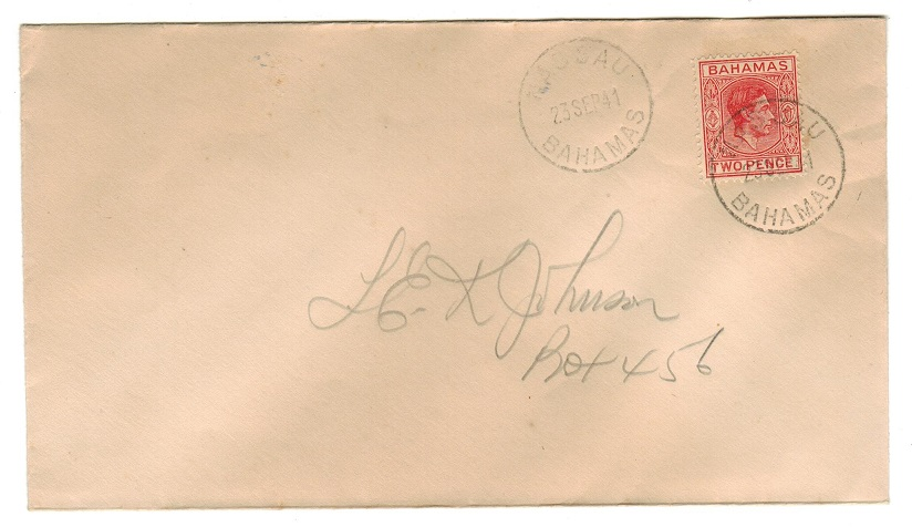 BAHAMAS - 1941 2d scarlet on local cover.
