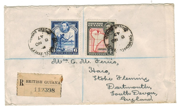 BRITISH GUIANA - 1947 registered cover to UK used at CARMICHAEL STREET.