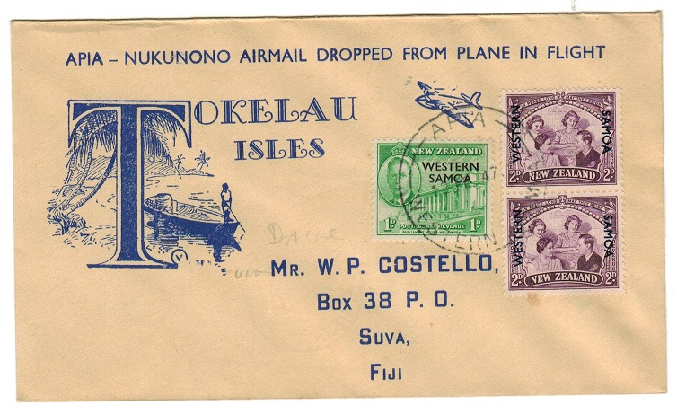 SAMOA - 1947 first flight cover from APIA to Tokelau.