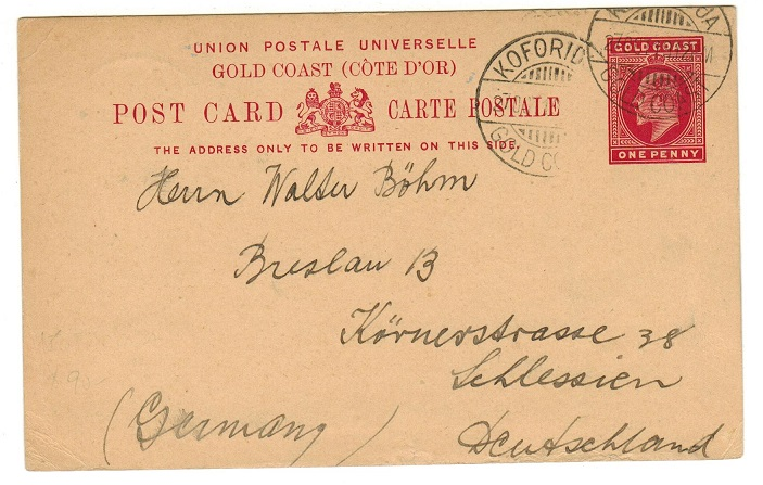 GOLD COAST - 1903 1d carmine PSC to Germany used at KOFORIDUA.  H&G 5.