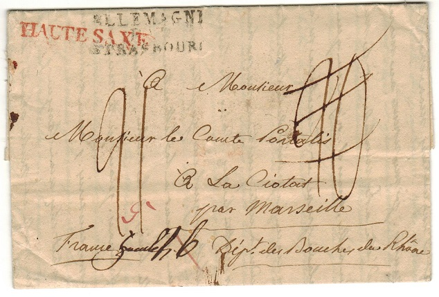 GERMANY - 1811 stampless entire cancelled ALLEMAGNE/STRASBOURG.