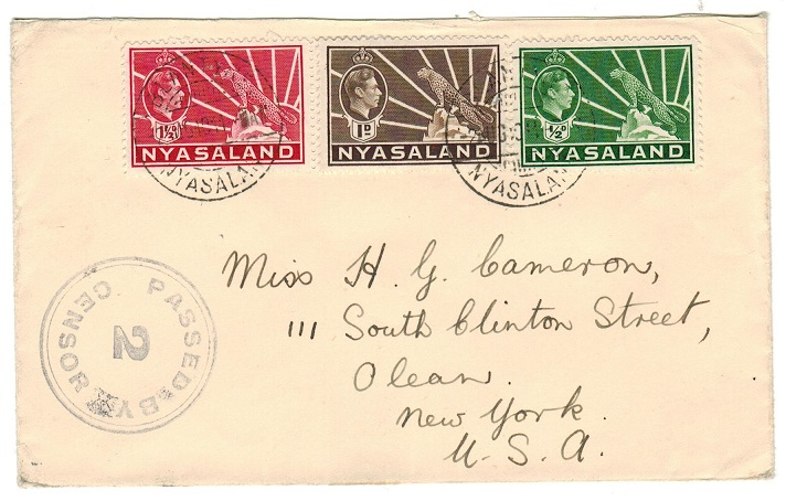 NYASALAND - 1941 PASSED/2/CENSOR cover to USA used at BLANTYRE.