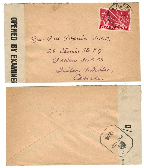 NYASALAND - 1943 PASSED/Q4 censor cover to Canada used at DEDZA.