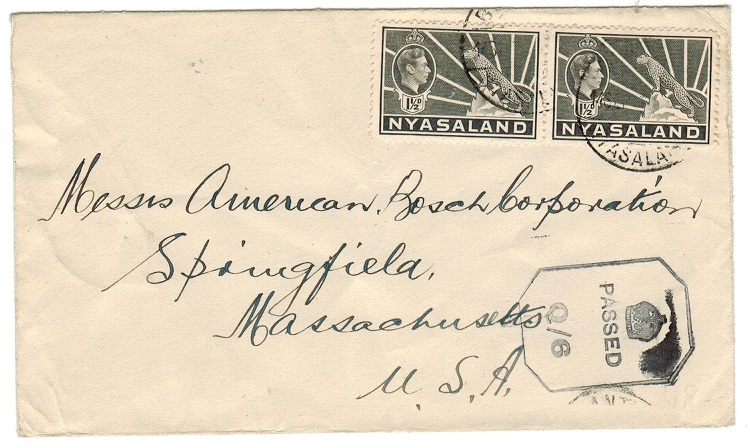 NYASALAND - 1943 PASSED/Q6 censor cover to USA used at BLANTYRE.