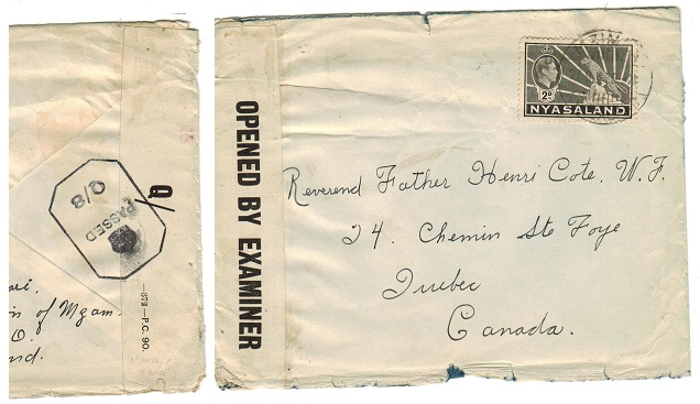 NYASALAND - 1943 PASSED/Q8 censor cover to Canada used at MZIMBA.