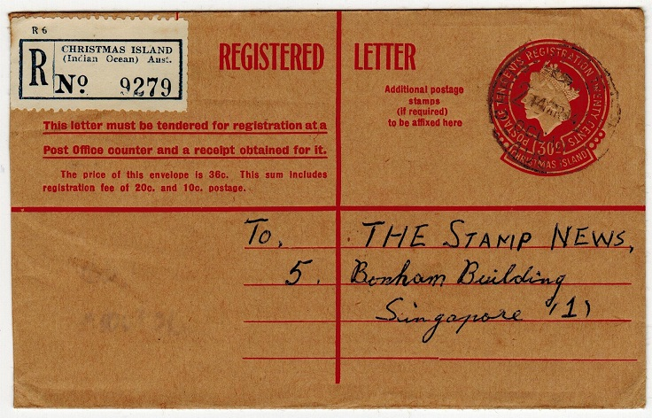 CHRISTMAS ISLANDS - 1959 30c red RPSE to Singapore cancelled CHRISTMAS ISLANDS. H&G 1.