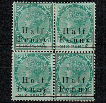 DOMINICA - 1886 1/2d on 6d green mint block of four.  SG 17.
