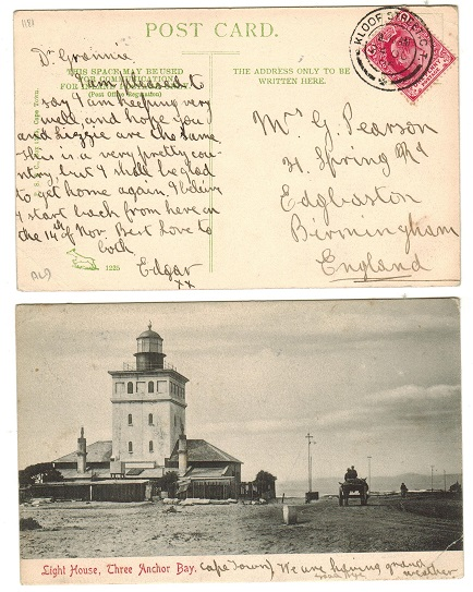 CAPE OF GOOD HOPE - 1906 1d rate postcard to UK used at KLOOF STREET C.T.