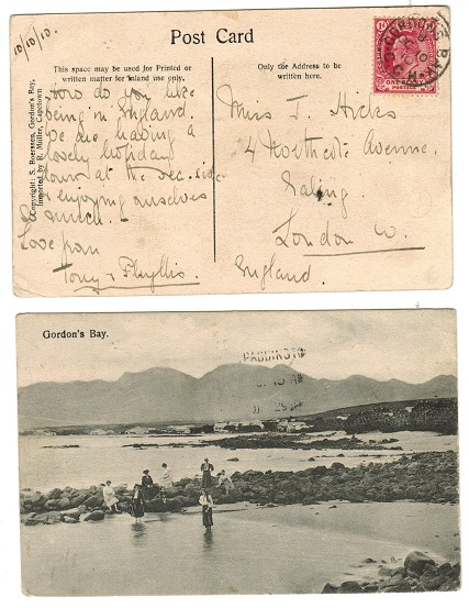 CAPE OF GOOD HOPE - 1910 1d rate postcard to UK used at GORDONS BAY.