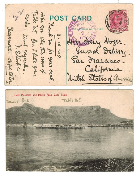 CAPE OF GOOD HOPE - 1909 1d rate postcard to USA used at CLAREMONT.