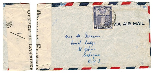 BRITISH GUIANA - 1942 36c rate censored cover to Antigua.