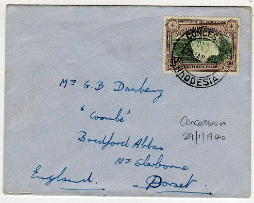 SOUTHERN RHODESIA - 1940 2d rate cover to UK used at CONCESSION.