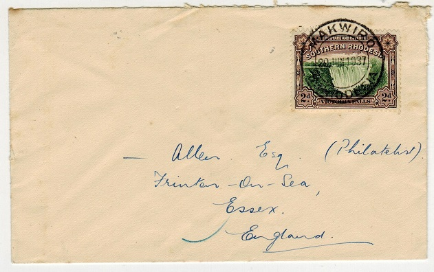 SOUTHERN RHODESIA - 1937 2d rate cover to UK used at MAKWIRO.